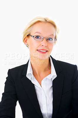 Buy stock photo Studio portrait of an mature businesswoman isolated on a white background.