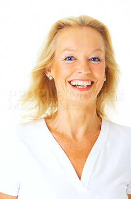 Buy stock photo Studio portrait of an attractive mature woman isolated on white