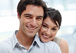 Closeup of a smiling young couple together