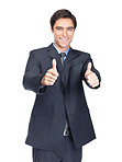 Happy business man showing a thumbs up against white