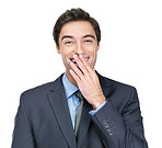Business man covering laugh with hand against white