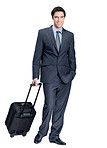 Full length of a business man with a trolley bag on a tour