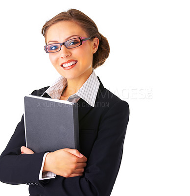 Buy stock photo Portrait of a young businesswoman holding a folder.