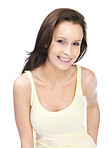 Pretty young woman smiling isolated against white
