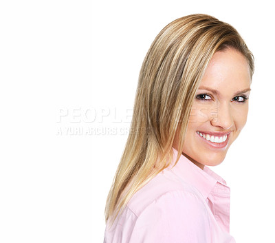 Buy stock photo Closeup side view of a female smiling against white background