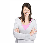 Happy female standing with hands folded against white