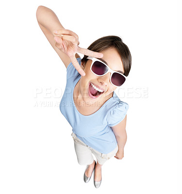 Buy stock photo Top view of a young female with sunglasses and gesturing a sign on white