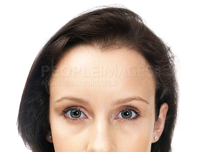 Buy stock photo Cropped image of young woman face over white background