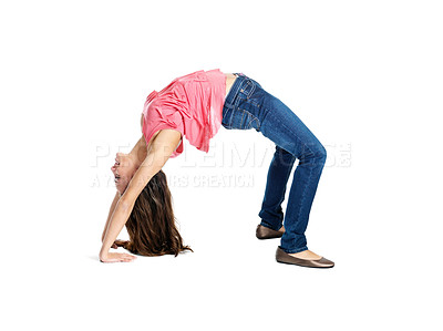 Buy stock photo Portrait of a young female doing yoga exercise against white background