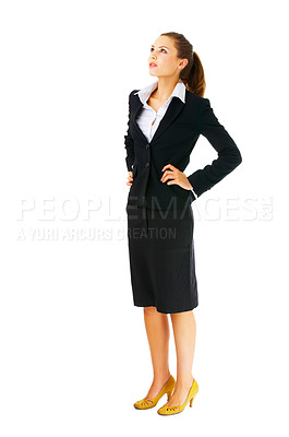 Buy stock photo Full-body portrait of a disappointed business woman looking upward, to the corner. Isolated.