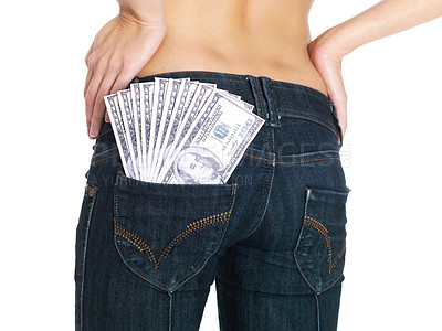 Buy stock photo Mid section of woman with currency notes in her pocket