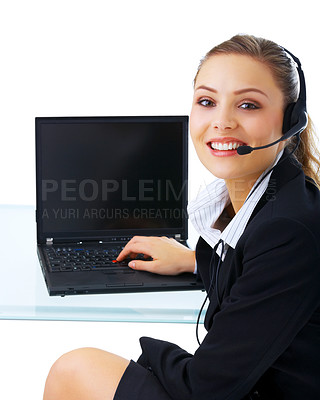 Buy stock photo Portrait of a beautiful business woman working at her desk with a headset and laptop. Isolated