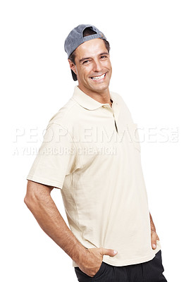 Buy stock photo Portrait of a man standing with his hands in pockets against a white background