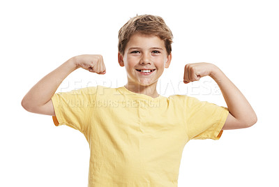 Buy stock photo Little caucasian strong boy showing his muscles isolated against white background