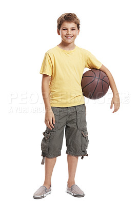 Buy stock photo Portrait of a happy small boy holding basket ball isolated over white background