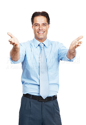 Buy stock photo Portrait of a confident businessman extending his hands in front of him