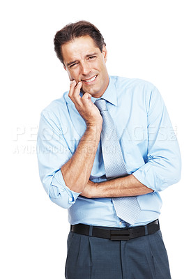 Buy stock photo Portrait of a businessman suffering from toothache standing against white background