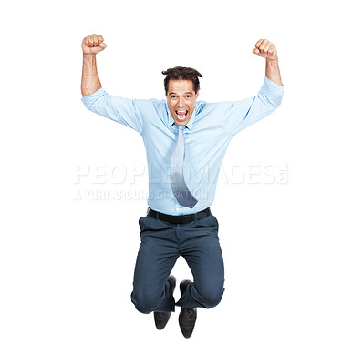 Buy stock photo Full length shot of an excited businessman jumping for joy isolated on white