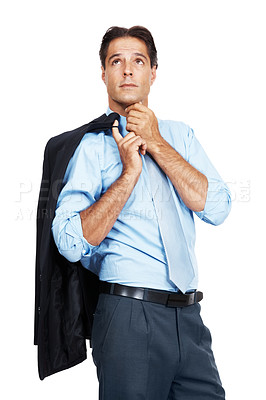 Buy stock photo A mature businessman with his jacket over his shoulder looking up at copyspace