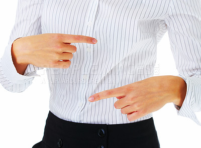 Buy stock photo Extreme close up of a model in business attire, without face.