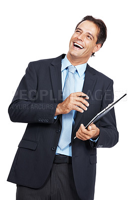 Buy stock photo Shot of a mature businessman laughing while holding a clipboard against a white background
