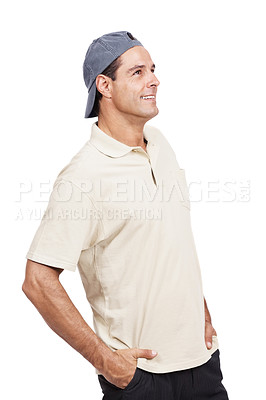 Buy stock photo Shot of a mature man wearing a cap standing against a white background