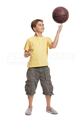 Buy stock photo Full length portrait of cute small boy balancing basketball on fingers against white background