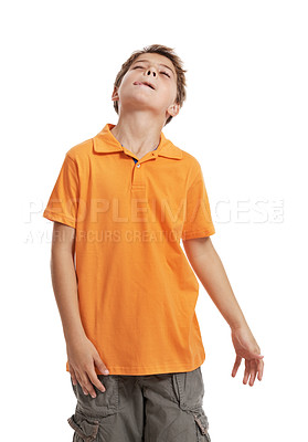 Buy stock photo Little boy sticking out his tongue isolated on white background
