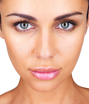 Buy stock photo Closeup portrait of a pretty young lady looking at you
