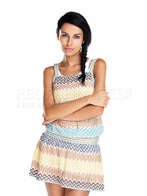 Buy stock photo Portrait of a lovely young girl standing with her hands folded against white background