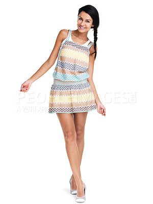 Buy stock photo Full length of a happy young lady smiling isolated over white background