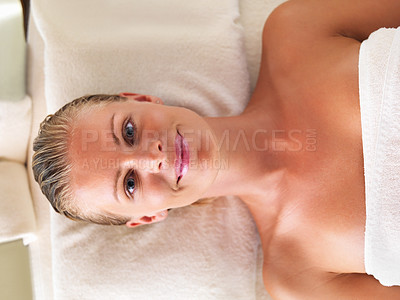 Buy stock photo Top view of beautiful middle aged woman ready for spa treatment