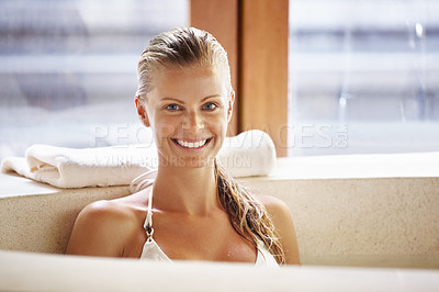 Buy stock photo Portrait of attractive woman enjoying Jacuzzi at spa salon