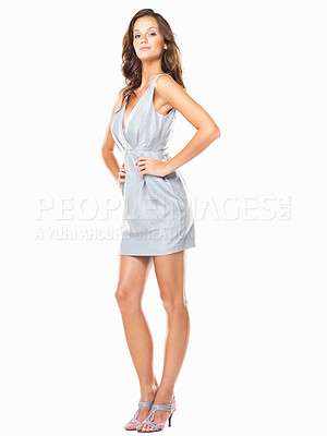 Buy stock photo Full length of sensuous young woman standing with hands on hips against white background