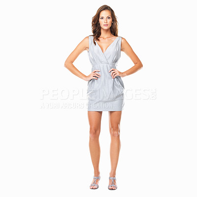 Buy stock photo Full length of cute woman standing with hands on hips against white background