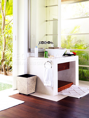 Buy stock photo Picture of modern and trendy bathroom in a luxurious holiday resort