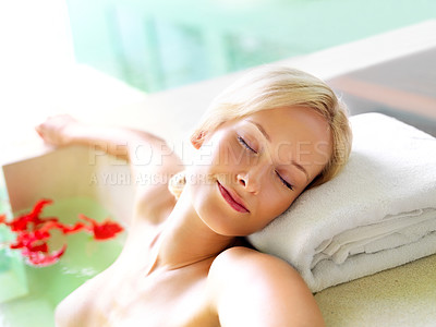 Buy stock photo Pretty young woman enjoying nice spa treatment in the bath