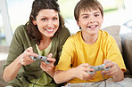Mother and son playing video games