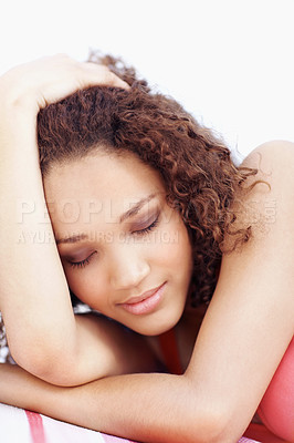 Buy stock photo Closeup portrait of a beautiful woman with her eyes closed