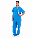 Lady doctor standing in blue isolated on white background