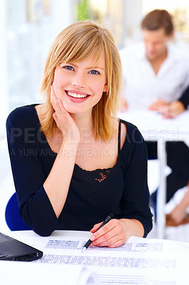 Buy stock photo Cropped shot of a businessewoman working in her office