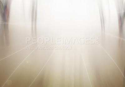 Buy stock photo Motion blur image with bright light in middle and people on the move