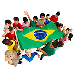 Kids and the Brazilian flag from up on high!