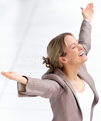 Buy stock photo Portrait of young beautiful business woman standing with her arms wide open