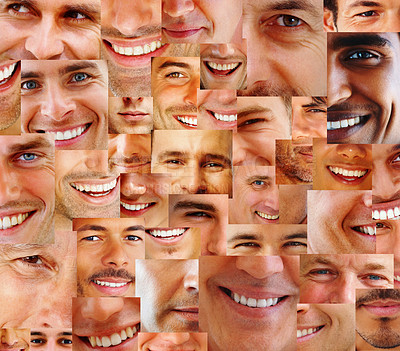 Buy stock photo Collection and Collage of parts of many human smiling face