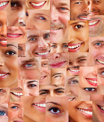 Buy stock photo Creative background -  Collage of parts of many human smiling face together