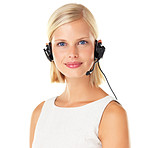 Young call centre employee on white