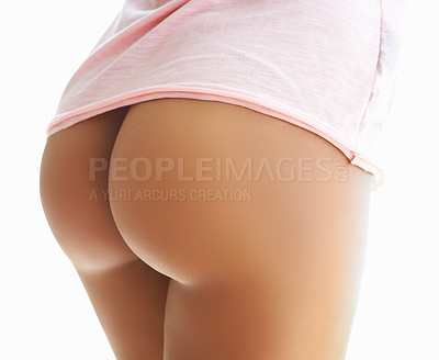 Buy stock photo Rearview shot of a beautiful woman posing nude against a white background