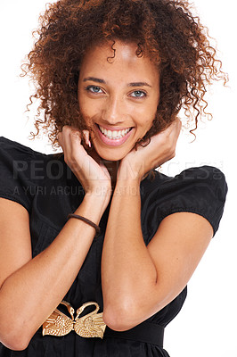 Buy stock photo Cute young woman laughing while isolated on white - closeup portrait
