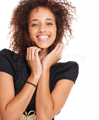 Buy stock photo Pretty young woman smiling while isolated on a white background